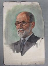 Vintage Retrato Pintura Gouache profesor judío por una Horner