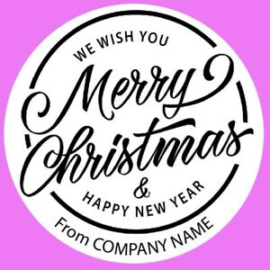 Round Personalised Merry Christmas and Happy New Year logo, Round Stickers (06A)