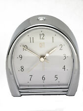 Cft :Brushed Silver Metal Case Elegant Style Bedside Alarm Clock, Made In Tiwan