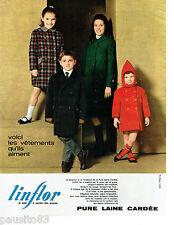 PUBLICITE ADVERTISING 115  1964  LINFLOR  pure laine cardée manteaux  enfants