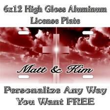 39b10966f7e5 Cross Christian Religious Life Red Maroon Sign Custom Monogram License Plate  Aut
