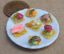 1:12 Scale Sea Food H'orderves On A Large 3.5cm Ceramic Plate Dolls House Food