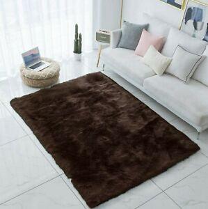 Brown Shag Faux Fur Rug 5x7