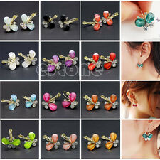 Lovely Women Fashion Crystal Rhinestone Butterfly Ear Stud Earrings Ear Hook