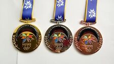 Nagano 1998 Olympic Medals & Ribbons Set - Gold/Silver/Bronze