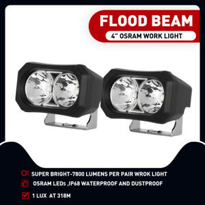 2x 4inch OSRAM LED Light Bar Side Shooter Pods Flood Beam Work Driving 4WD Fog