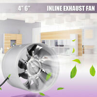 4Inch/6Inch Inline Duct Fan Booster Exhaust Blower Air Cooling Vent Metal Home