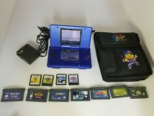 NINTENDO DS NAVY BLUE CONSOLE SYSTEM WITH 11 GAMES AC ADAPTER CARRYING CASE K29
