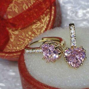 Elegant sim diamonds and pink sapphire heart hoop, 18k gold GF Earrings, Boxed