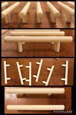 8 Handles Pulls Off White Bar Hard Plastic Cabinet Drawer Mid Century Vintage