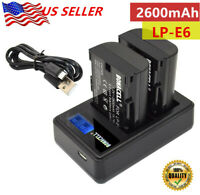 2 LP-E6 LP-E6N Battery + USB LCD Dual Charger for Canon EOS 5D 7D Mark II III US