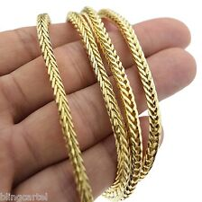 "Franco Chain 36"" in Long x 4MM Wide Gold Tone Mens Hip Hop Box Snake Necklace"