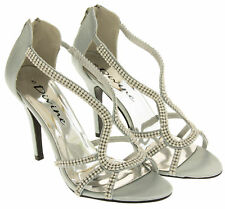 Ladies Divine Gold Silver Diamante Satin Bridesmaid Sandals Shoes Size UK 5 6