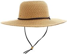 Women's UPF 50+ Wide Brim Braided Straw Sun Hat With Lanyard Natural Brown