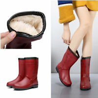 Winter Women's Outdoor Mid Calf Rubber Rain Boot Fur Lining Waterproof Shoes New