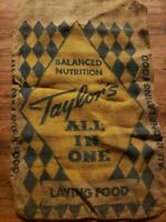 Vintage Burlap Bag Taylor's All In One Laying Food 32 X 21