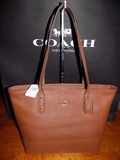 NWT Coach City Zip Tote Bag Purse in Crossgrain  Leather  SADDLE 2  F58846  $295