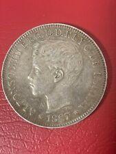 Philippines Spain SILVER COIN - 1897 Un Peso Islas Filipinas - AU Condition - #1