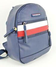Tommy Hilfiger Navy Blue Leather Medium Backpack Travel Bag