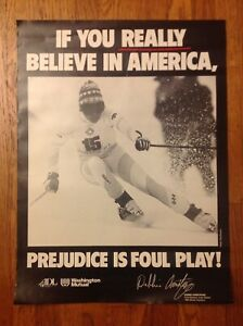 """RARE 1980'S U.S OLYMPIC TEAM DEBBIE ARMSTRONG  """"PREJUDICE IS FOUL PLAY"""" POSTER"""