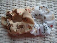 Pack of 2 Hair Scrunchies Horses Pony Tie Band Gift Horse Ponies Gifts Unique