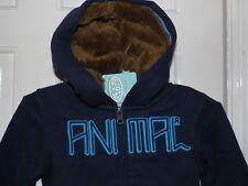 Animal Boys Fleece Lined Zip Through Hoody Navy Blue Size 2 Year Old