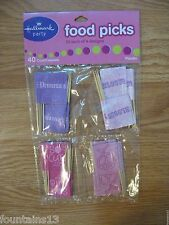 Food Picks Cupcakes GIRLS Princess Flowers PINK 40pcs HALLMARK PARTY Cupcake
