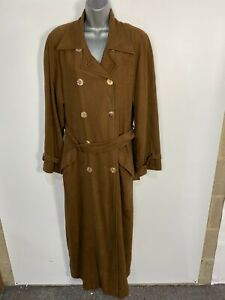 WOMENS WALLIS UK 12 BROWN DOUBLE BREASTED BUTTON UP LONG BELTED MACK COAT JACKET