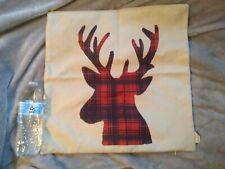 Rustic Burlap Buffalo Plaid Deer Pillow Sham + Red Plaid Burlap Buck Pillow Sham