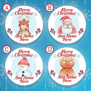 70 x PERSONALISED Christmas Stickers / Christmas Labels Gift Tags Stickers (008)