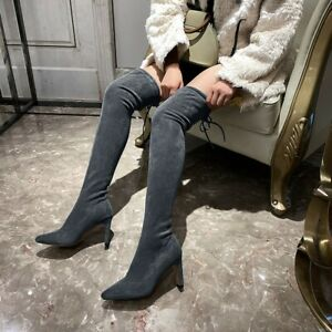 Women Over The Knee Boots Thigh High Stretch Pointy Toe Block Heel Party Shoes L