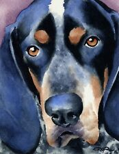 Bluetick Coonhound Watercolor Painting 11 X 14 Dog Art Print by Artist Dj Rogers