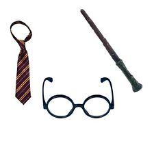 3 piezas Conjunto de Disfraz Mago Harry Corbata Gafas Varita Potter Magic Mystic