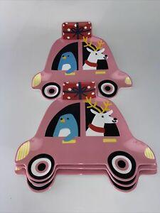 4 Target Melamine Holiday Christmas Penguin Reindeer Car Present Gift Plate