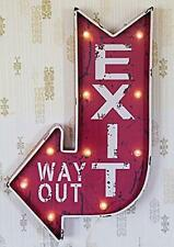 Metal Lighted Led, Red and White Exit Way Out Sign Wall Décor, Battery Operated