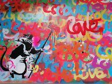 Original Stencil Graffiti Artwork on Canvas Board LOVE FINNvsBANKSY Dismaland