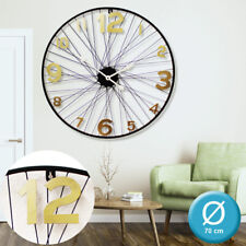 Wall clock quartz hanging decoration black numerals antique gold spoke 70 cm new