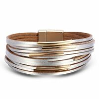 Fashion Women Multilayer Leather Magnet Bangle Wrap Cuff Charm Bracelet Jewelry