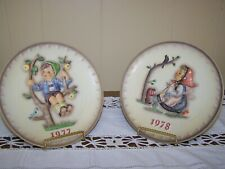 1977 and 1978 M J Hummel Goebel Collector Plates in Original Boxes with Document