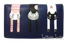 Goth: Grand Portefeuille Double 3 CHAT CAT Cousu Recto Verso BLEU Foncé gothique