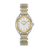 Bulova Quartz Women's Diamond Accents Two-Tone Bracelet 28mm Watch 98R229