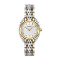 Bulova Quartz Women's Diamond Accents Two-Tone Bracelet 28mm Watch 98R229
