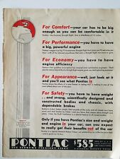 1933 Pontiac car for Comfort performance economy appearance safety ad