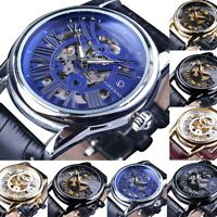 Luxury Hollow Mechanical Waterproof Leather Band Men's Watches Brand FORSINING