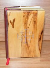 """Small 5 1/2"""" x 4"""" (inch) Wood Cover Red Letter Edition Jerusalem Holy Bible Only"""