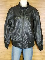 GUESS Black Pleather Faux Leather Full Zip Motorcycle Jacket Womens Size Small S