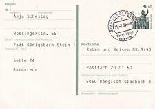 BERGISCH GLADBACH 21.7.90 Nachträglich entwertet Ganzsache Stempelbeleg