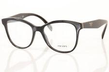 Prada VPR12T black signature logo demo cat eye frame optical eyeglasses NEW $315