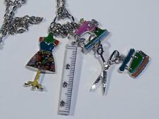 COLOURFUL ENAMELLED NECKLACE WITH A SEWING THEME - FREE UK P&P..........CG1816