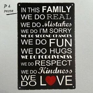THIS FAMILY WE DO Tin Sign Bar Poster sticker Art Metal Retro Decor Wall